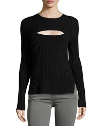 Frame Overlap Rib Sweater Black