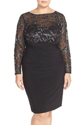 Plus Size Women's Marina Sequin Illusion And Jersey Side Ruched Sheath Dress