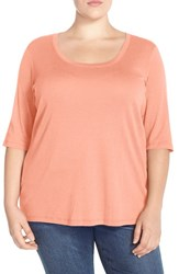 Plus Size Women's Sejour Elbow Sleeve Scoop Neck Tee Coral Pink