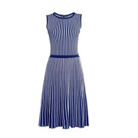Rumour London Sienna Blue Striped Fit And Flare Dress White Blue