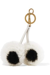 Anya Hindmarch Leather Trimmed Shearling Keychain White