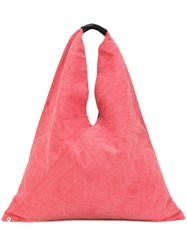 Maison Martin Margiela Mm6 Triangle Tote Women Cotton Leather One Size Red