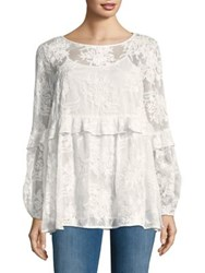 Context Plus Lace Ruffle Top With Camisole White Enamel