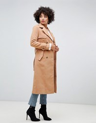 Missguided Trench Coat In Camel Brown