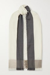Loro Piana Fringed Color Block Cashmere And Silk Blend Scarf White