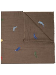 Janavi Brown Feather Embroidered Scarf Green