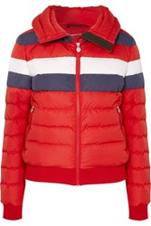 Perfect Moment Queenie Color Block Quilted Down Jacket Red
