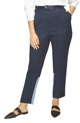 Universal Standard Plus Size Satin Trim Pants Navy Flintstone