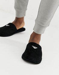 Emporio Armani Logo Slippers In Black