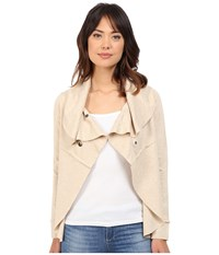 Kensie Ponte Jacket Ks8k2075 Heather Quicksand Women's Coat Beige