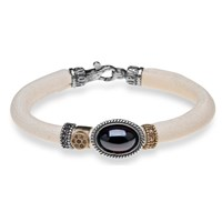 Platadepalo White Leather Bracelet With Garnet Silver Bronze And Zircon Crystals