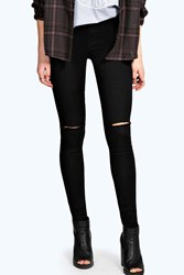 Boohoo High Rise Ripped Disco Jeans Black