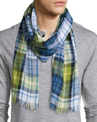 Begg And Co Cottlea Plaid Cotton Linen Scarf Blue Green Yellow White