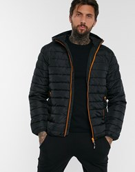 Only And Sons Quilted Jacket With Hood In Black Green
