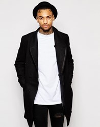 Asos Funnel Neck Wool Rich Overcoat With Asymmetric Fastening In Black