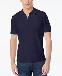 Vince Camuto Men's Waffle Knit Quarter Zip Polo Navy