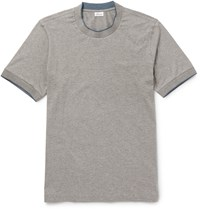 Brioni Silk Tipped Stretch Cotton T Shirt Gray