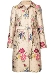 Red Valentino Pixelated Floral Print Raincoat Brown