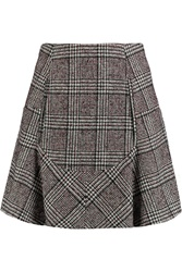 Carven Prince Of Wales Plaid Wool Blend Tweed Mini Skirt Red