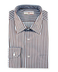 Luciano Barbera Striped Cotton Sport Shirt Light Blue Brown