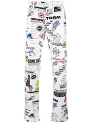 Kenzo Animated Print Trousers Men Cotton Spandex Elastane L White