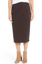 Eileen Fisher Stretch Ponte Calf Length Pencil Skirt Brown