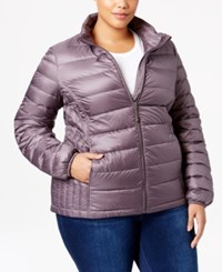 32 Degrees Plus Size Packable Down Puffer Coat Stone Grey