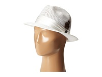 Stacy Adams Polybraid Pinch Front Fedora With Silk Band White Fedora Hats