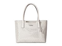 Calvin Klein Perforated Novelty Leather Tote White Silver Tote Handbags