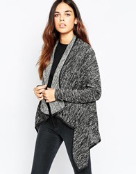 Wal G Cardigan With Waterfall Front And Contrast Trim Black
