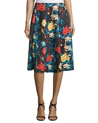 Neiman Marcus Floral A Line Midi Skirt Costa Rican Floral