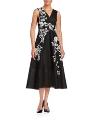 Teri Jon Embroidered Floral Midi Dress Black Ivory