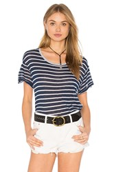 Sundry Linen Stripes Crew Neck Tee Navy