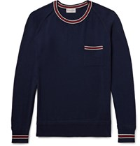 Moncler Slim Fit Contrast Trimmed Cotton Sweater Navy
