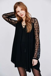 Ecote Aura Embroidered Mesh Sleeve Dress Black