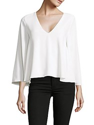 Cooper And Ella Solid Bell Sleeve V Neck Top White