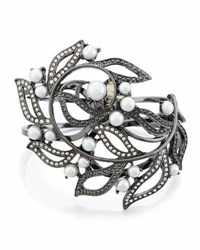 Lydell Nyc Simulated Pearl And Crystal Leaf Hinged Bangle Multi