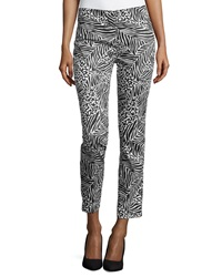 Paperwhite Printed Skinny Ankle Pants Black White