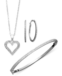 Macy's Sterling Silver Jewelry Set Diamond Accent Heart Pendant Hoop Earrings And Bracelet