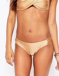 Vero Moda Gathered Side Detail Bikini Bottoms Gold