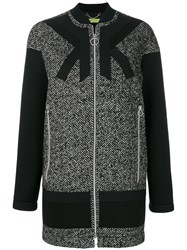 Versace Jeans Single Breasted Zipped Coat Cotton Acrylic Polyamide Wool Black