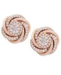 Wrapped In Love Diamond Earrings 14K Rose Gold Pave Diamond Knot Earrings 3 4 Ct. T.W.