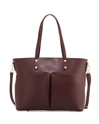 Neiman Marcus Leather Large Pocket Tote Bag Bordeaux