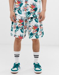 Mitchell And Ness Nba Toronto Raptors Floral Mesh Shorts In White