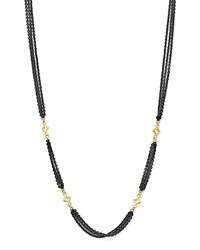 Armenta 18K Yellow Gold And Sterling Silver Old World Triple Strand Necklace With Cravelli Cross Stations 20 Gold Black