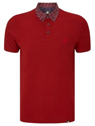 Pretty Green Rindle Floral Print Collar Polo Shirt Red