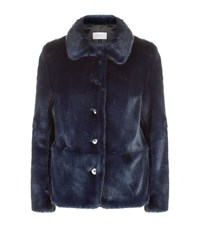 Reiss Alexia Faux Fur Jacket Female Blue