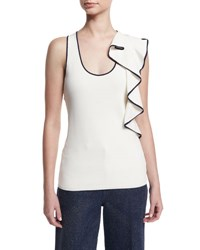 Cedric Charlier Piped Sleeveless Ruffle Trim Shell White