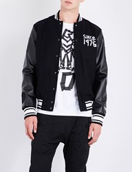 Boy London Eagle Tape Print Wool Blend Bomber Jacket Black