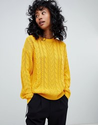 440462ce9 Save. Pull And Bear Pullandbear Cable Knitted Jumper In Yellow